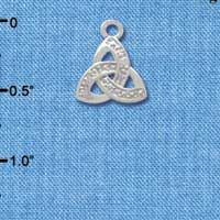 C3674 tlf - Small 2-D Silver Faux Stone Trinity Knot - Silver Charm