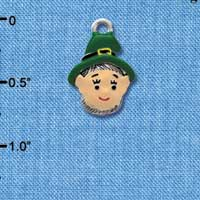 C3676 tlf - Small Leprechaun with Hat - Silver Charm