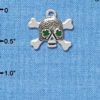 C3679 tlf - Good Luck Skull with Four Leaf Clovers - Silver Charm