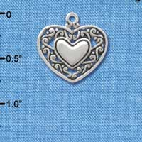 C3746 tlf - 2-D Silver Heart with Scroll Border - Silver Charm