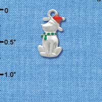 C3755 tlf - 2-D Christmas Dog with Red Hat - Silver Charm