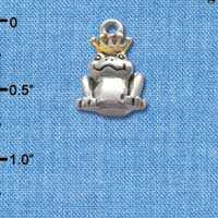 C3756 tlf - Silver Frog Prince with Gold Crown - Im. Rhodium Charm