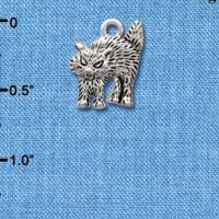 C3765 tlf - Antiqued Scary Cat - Silver Charm