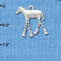 C3768 tlf - Horse with 4 Dangle Legs - Silver Charm