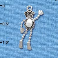 C3769 tlf - Monkey with 4 Dangle Limbs - Silver Charm