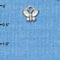 C3780 tlf - Mini Butterfly with Frosted Clear Resin Wings & Clear Swarovski Crystals - Im. Rhodium Charm