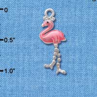 C3835 tlf - Flamingo with Dangle Legs - Silver Charm