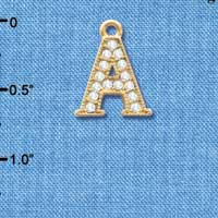 C3836 tlf - Swarovski Crystal - A - Beaded Border - Gold Charm
