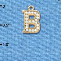C3837 tlf - Swarovski Crystal - B - Beaded Border - Gold Charm