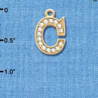 C3838 tlf - Swarovski Crystal - C - Beaded Border - Gold Charm