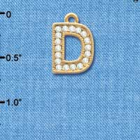 C3839 tlf - Swarovski Crystal - D - Beaded Border - Gold Charm
