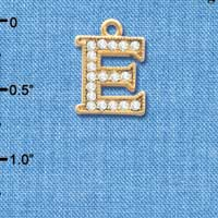 C3840 tlf - Swarovski Crystal - E - Beaded Border - Gold Charm