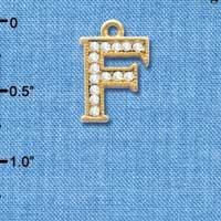 C3841 tlf - Swarovski Crystal - F - Beaded Border - Gold Charm