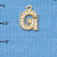 C3842 tlf - Swarovski Crystal - G - Beaded Border - Gold Charm