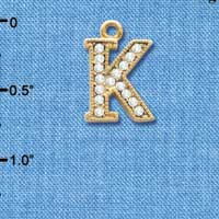 C3846 tlf - Swarovski Crystal - K - Beaded Border - Gold Charm