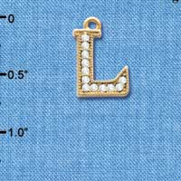 C3847 tlf - Swarovski Crystal - L - Beaded Border - Gold Charm