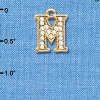 C3848 tlf - Swarovski Crystal - M - Beaded Border - Gold Charm
