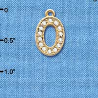 C3850 tlf - Swarovski Crystal - O - Beaded Border - Gold Charm