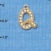 C3852 tlf - Swarovski Crystal - Q - Beaded Border - Gold Charm