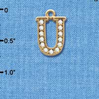 C3856 tlf - Swarovski Crystal - U - Beaded Border - Gold Charm