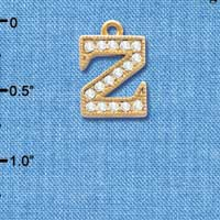 C3861 tlf - Swarovski Crystal - Z - Beaded Border - Gold Charm
