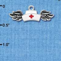 C3942 tlf - Enamel Nurse Hat with Wings - Silver Charm