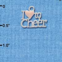 C3947 tlf - I love to Cheer with Pink Heart - Silver Charm