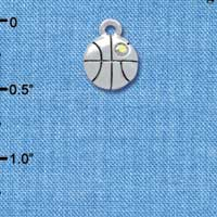 C3966tlf - Small Silver 2-D Basketball with a AB Swarovski Crystal - Silver Charm