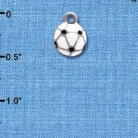C3974 tlf - Mini Enamel Soccerball - 2 Sided - Im. Rhodium Charm