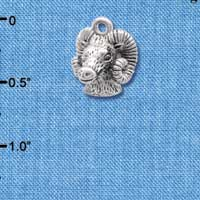 C3977 tlf - Medium 3-D Silver Ram Head - Im. Rhodium Charm