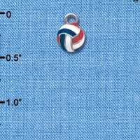 C4024 tlf - Red, White & Blue Volleyball - 2-D - Im. Rhodium Charm