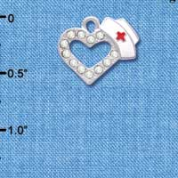 C4082 tlf - Small Swarovski Crystal Heart with Nurse Hat - Silver Plated Charm