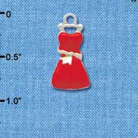 C4084 tlf - Red Dress - Silver Plated Charm