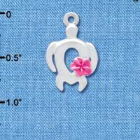 C4100 tlf - Open Sea Turtle with Hot Pink Plumeria Flower - Silver Plated Charm