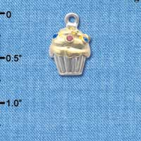 C4143 tlf - Two Tone Cupcake with Swarovski Crystal Sprinkles - Im. Rhodium & Gold Plated Charm