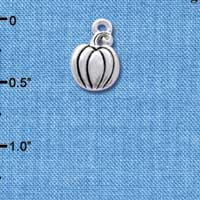 C4177 tlf - Small Silver Pumpkin - Silver Plated Charm