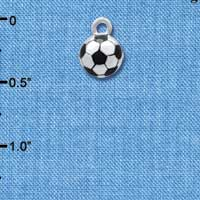 C4220+ tlf - 3-D Soccerball - Silver Plated Charm