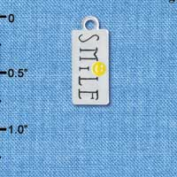 "C4247+ tlf - ""Smile"" with Happy Face Rectangle - Silver Plated Charm"