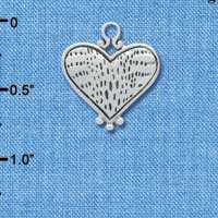 C4395 tlf - Antiqued Alligator Print Heart - 2 Sided - Silver Plated Charm