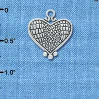 C4396 tlf - Antiqued Snake Print Heart - 2 Sided - Silver Plated Charm