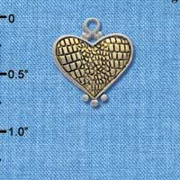 C4403 tlf - Silver and Gold Alligator Print Heart - Im. Rhodium and Gold Plated Charm