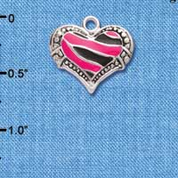 C4435+ tlf - Hot Pink Enamel Tiger Print Heart - 2 Sided - Silver Plated Charm