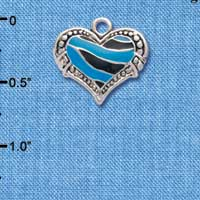 C4437+ tlf - Hot Blue Enamel Tiger Print Heart - 2 Sided - Silver Plated Charm