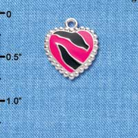 C4441+ tlf - Hot Pink Enamel Zebra Print Heart - 2 Sided - Silver Plated Charm