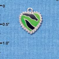 C4442+ tlf - Lime Green Enamel Zebra Print Heart - 2 Sided - Silver Plated Charm