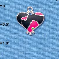 C4444+ tlf - Hot Pink Enamel Large Cheetah Print Heart - 2 Sided - Silver Plated Charm
