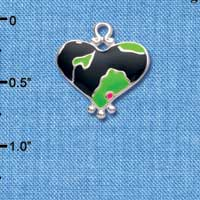C4445+ tlf - Lime Green Enamel Large Cheetah Print Heart - 2 Sided - Silver Plated Charm