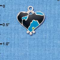 C4446+ tlf - Hot Blue Enamel Large Cheetah Print Heart - 2 Sided - Silver Plated Charm