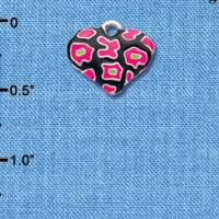 C4447+ tlf - Hot Pink Enamel Cheetah Print Heart - 2 Sided - Silver Plated Charm