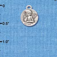 C4465+ tlf - Small Raphael Angel on Disc - Silver Plated Charm